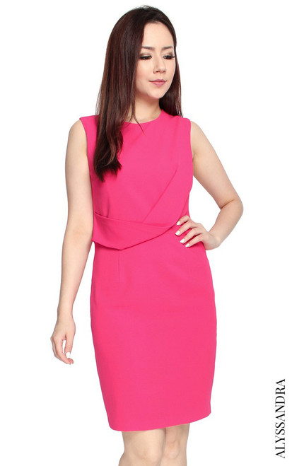 Twist Drape Dress - Pink