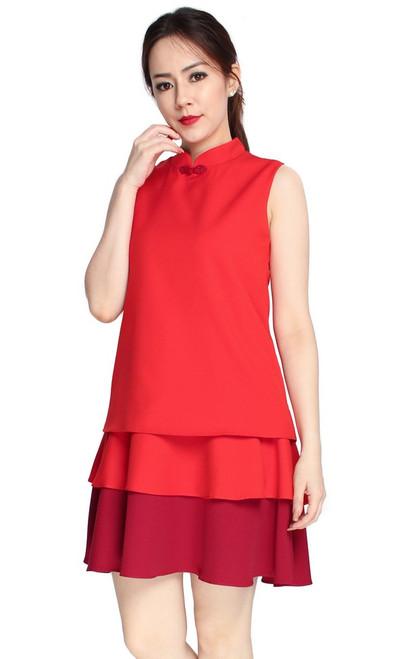 Tiered Cheongsam Dress