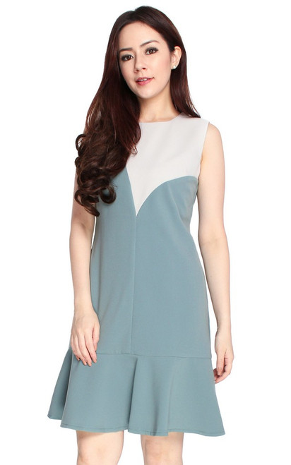 Colourblock Mermaid Dress - Jade