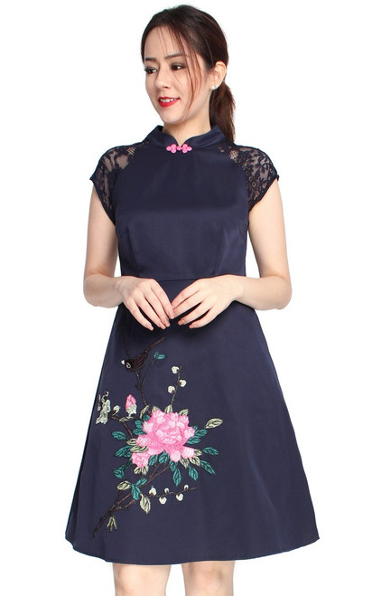 Embroidered Cheongsam - Navy