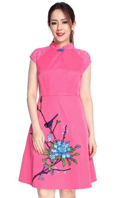 Embroidered Cheongsam - Pink