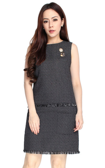 Tweed Pockets Dress - Black