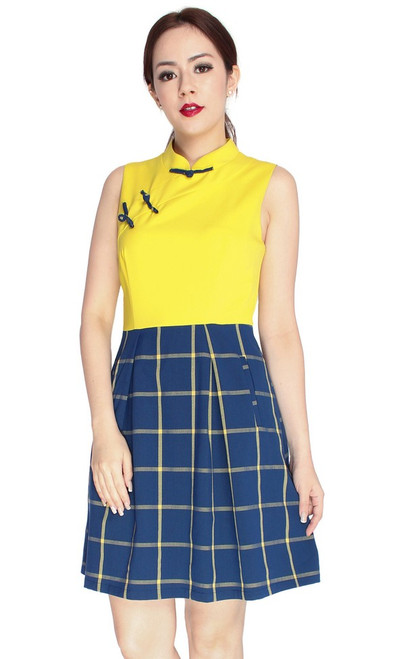 Checkered Cheongsam - Yellow