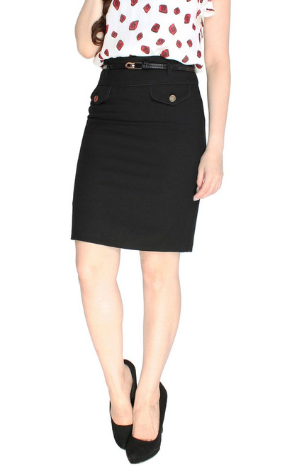 Buttons Pencil Skirt - Black
