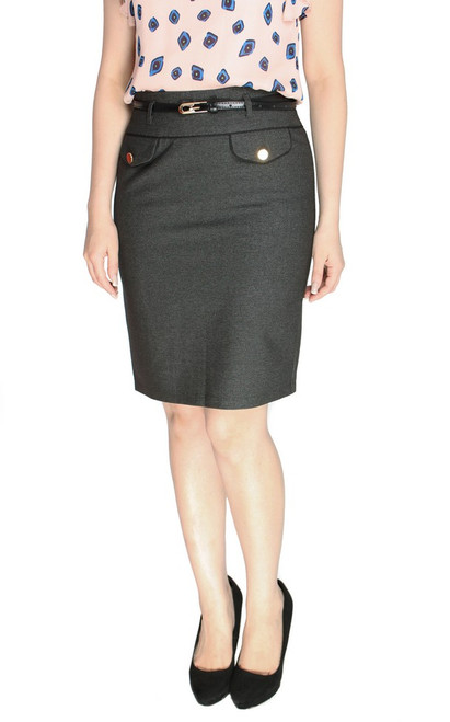Buttons Pencil Skirt - Grey