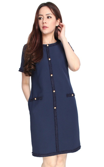 Buttons Shift Dress - Navy