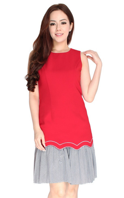 Scallop Drop Waist Dress - Red