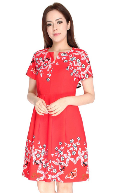 Gardens Notch Neck Dress - Red