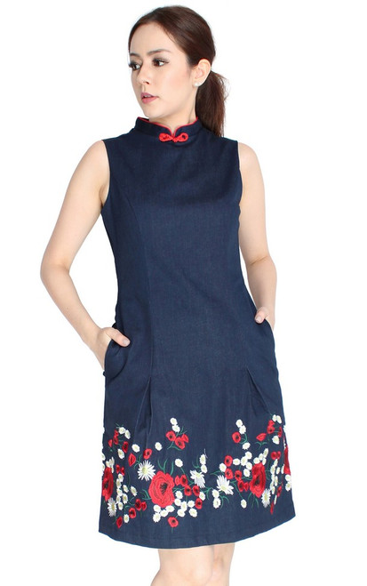 Embroidered Denim Cheongsam