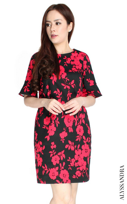 Flared Sleeves Shift Dress - Black