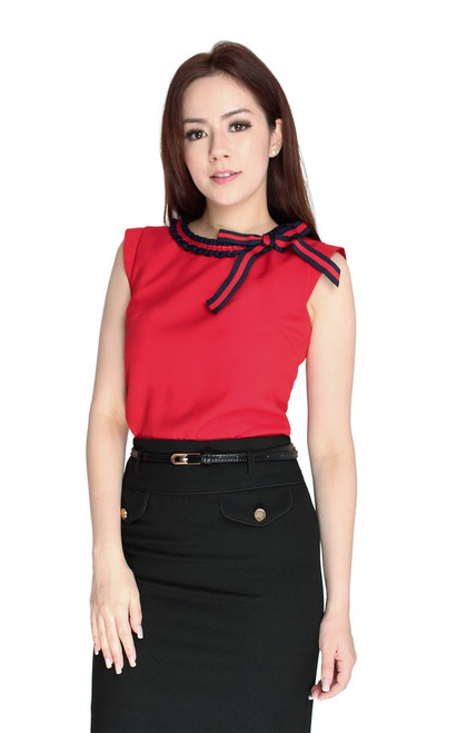 Ribbon Trim Top - Red