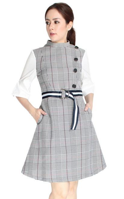 Checkered Mock Neck Dress