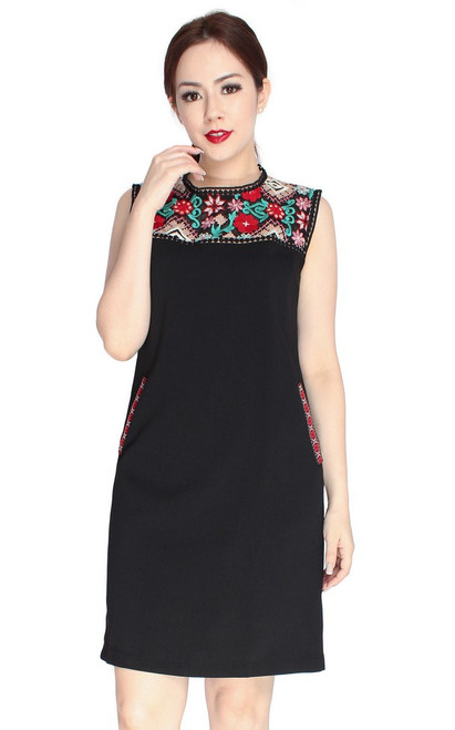Embroidery Panel Shift Dress - Black