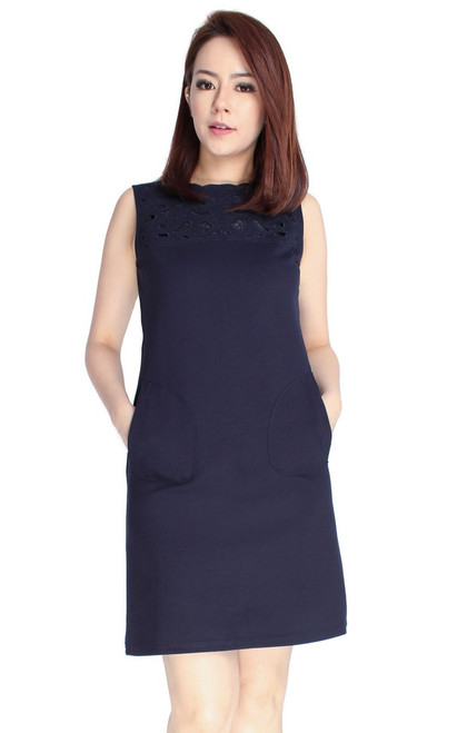 Cutout Panel Shift Dress - Midnight Blue