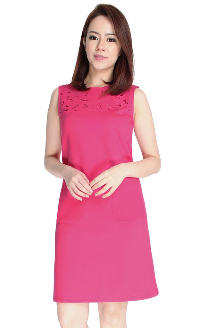 Cutout Panel Shift Dress - Rose