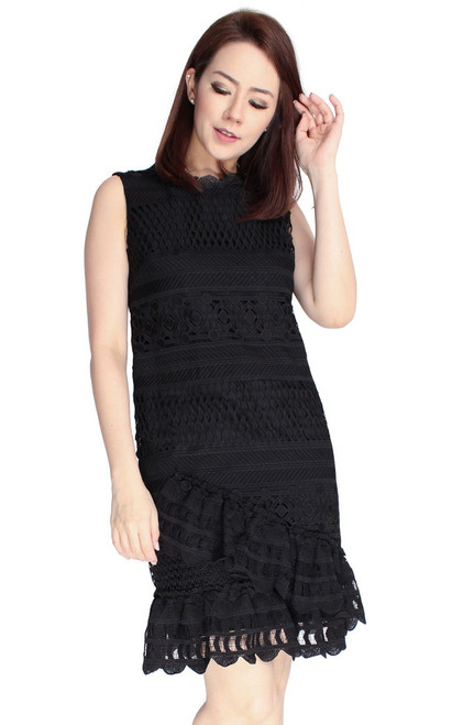 Crochet Lace Ruffled Hem Dress - Black