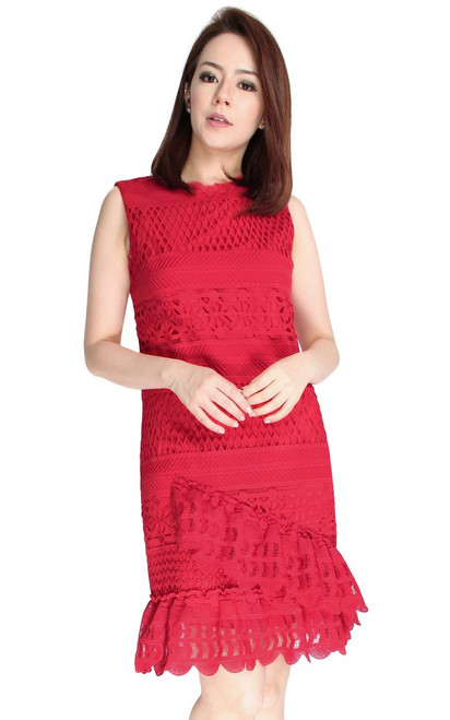 Crochet Lace Ruffled Hem Dress - Red