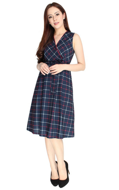 Checkered Wrap Front Dress