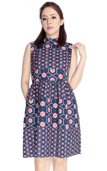 Mixed Print High Neck Dress