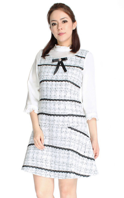 Ruffle Neck Tweed Dress