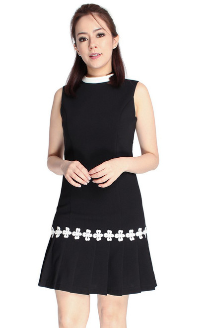 Crochet Trim Pleated Hem Dress - Black