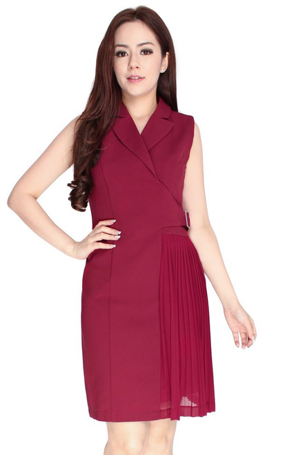 Side Pleats Tux Dress - Wine