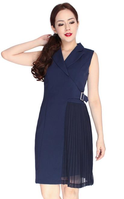 Side Pleats Tux Dress - Navy