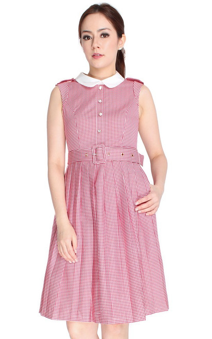 Houndstooth Flare Shirt Dress - Red