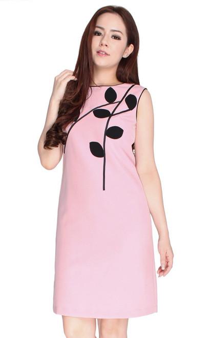 Leaf Motif Shift Dress - Pink