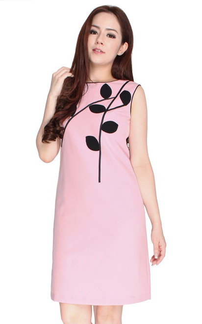 Leaf Motif Shift Dress - Pink