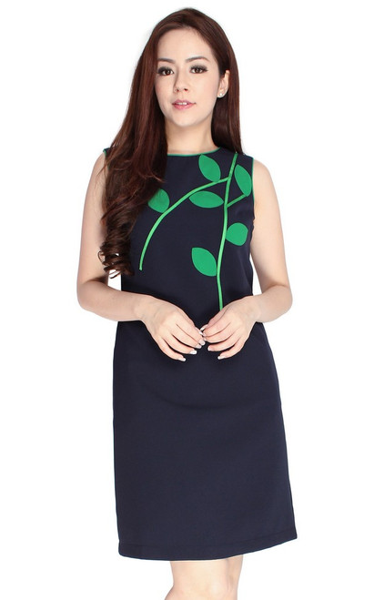 Leaf Motif Shift Dress - Navy