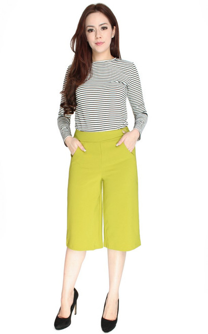 Side Button Culottes - Citrine