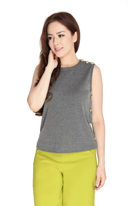 Gold Buttons Knit Top - Grey