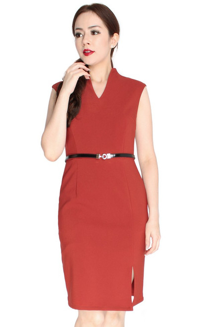 High Collar Pencil Dress - Burnt Orange