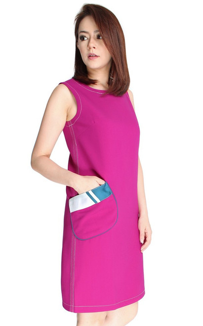 Patch Pocket Shift Dress - Magenta
