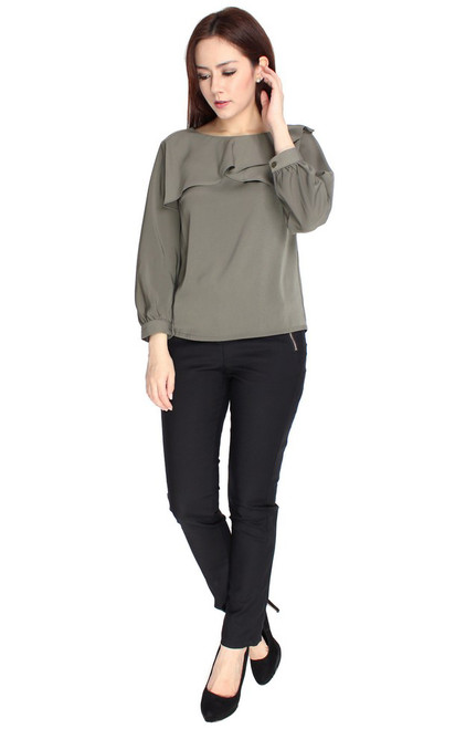 Ruffled Overlay Top - Olive