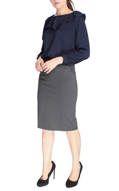 Pockets Pencil Skirt - Heather Grey