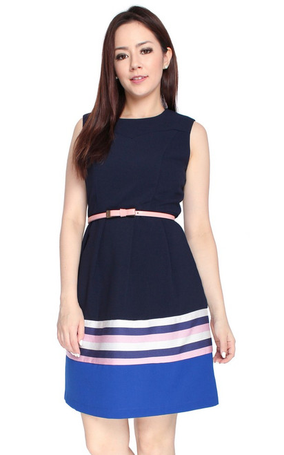 Colourblock Hem Dress - Midnight Blue