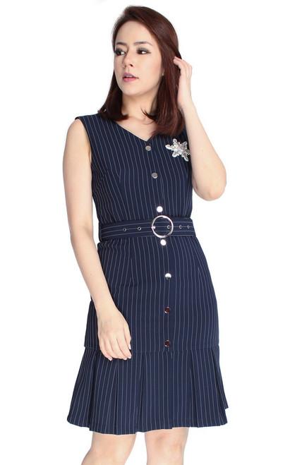 Pinstripe Pleated Hem Dress
