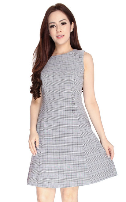 Checkered Side Buttons Dress