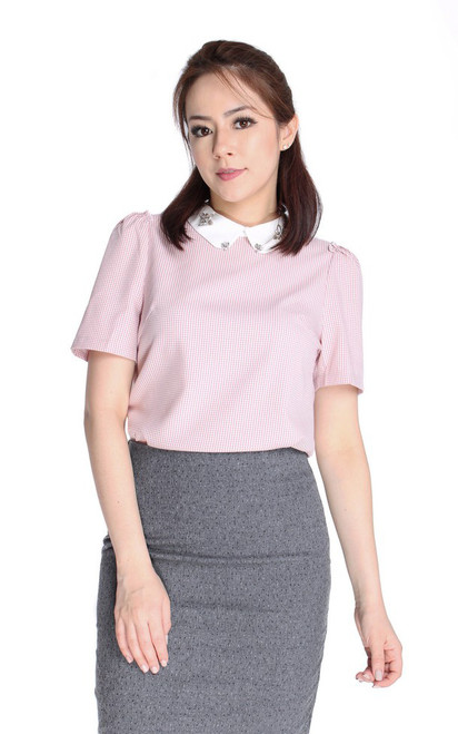Bejewelled Collar Blouse - Pink