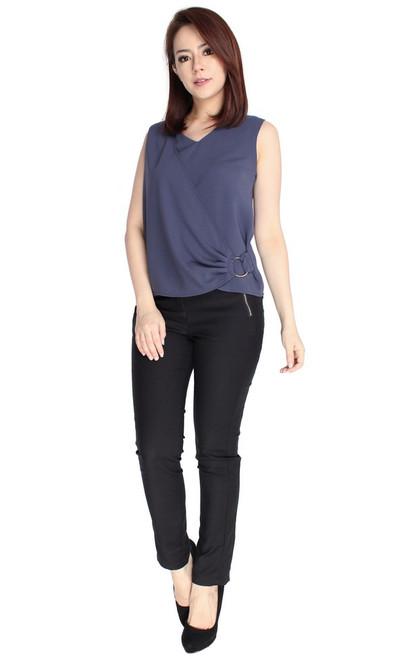 Side Drape Top - Slate Blue