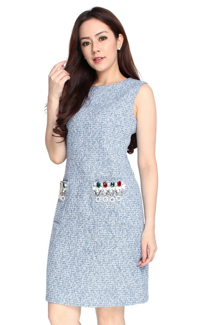 Bejewelled Pockets Tweed Dress
