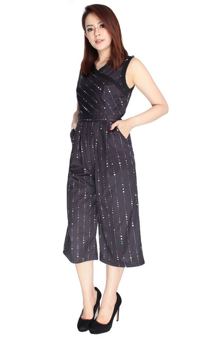 Wrap Front Jumpsuit - Black
