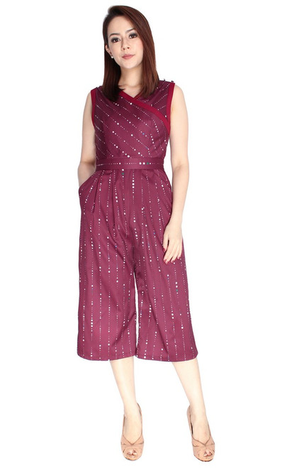 Wrap Front Jumpsuit - Burgundy