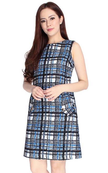 Checkered Shift Dress - Blue