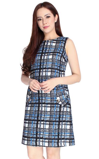 Checkered Shift Dress - Blue