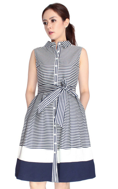 Striped Flare Shirt Dress - Midnight Blue