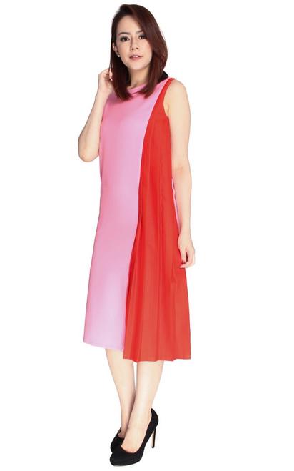 Contrast Side Pleats Midi Dress