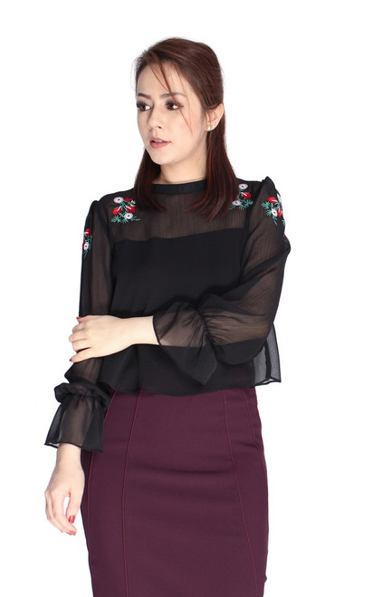 Embroidered Dual Layer Top - Black